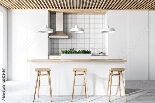 White modern kitchen interior, front view