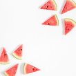 Watermelon pattern. Red watermelon on pastel white background. Summer concept. Flat lay, top view, copy space, square