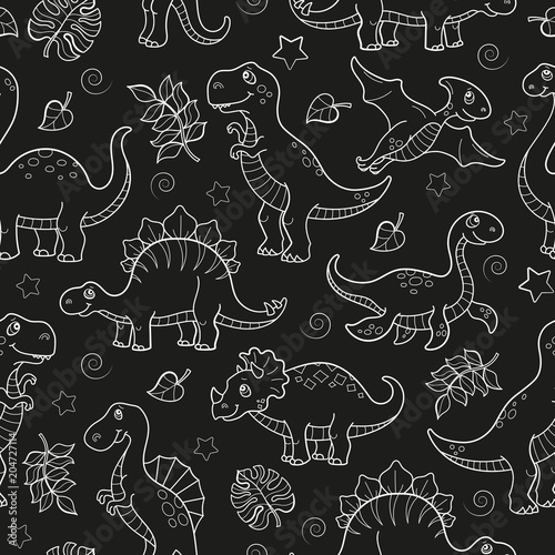 Cotton fabric Seamless pattern with dinosaurs and leaves, contoured animals on dark  background