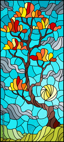 Plexiglas Turkoois Illustration in stained glass style with autumn tree on sky background with clouds and sun