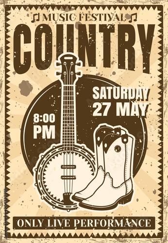 Plexiglas Vintage Poster Country music festival vintage poster illustration