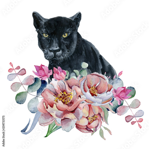 Watercolor composition with black wiled panther and flowers peonies , anemone - 204733175