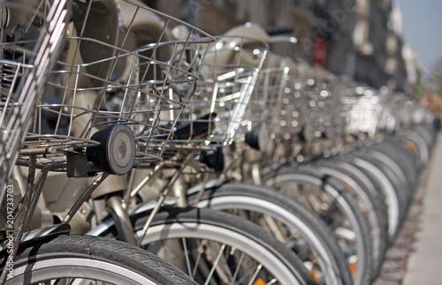 Row of rental bikes in Paris, France