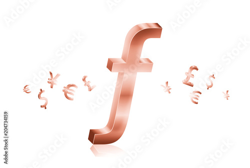 Rose Gold Metal Of Swiss Franc Currency Symbols Forex Trading Concept