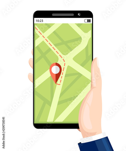 Fotobehang Auto Booking taxi service. Navigation service. Hand hold smartphone with mobile app on display.Flat cartoon style. Vector illustration isolated on white background