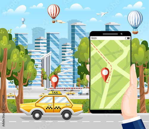 Aluminium Auto Booking taxi via mobile app. City skyscrapers, airplane ,air balloon and cars on the background. Flat cartoon style. Modern city concept