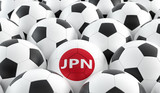 Soccer ball in Japans national colors. 3D Rendering - 204740332