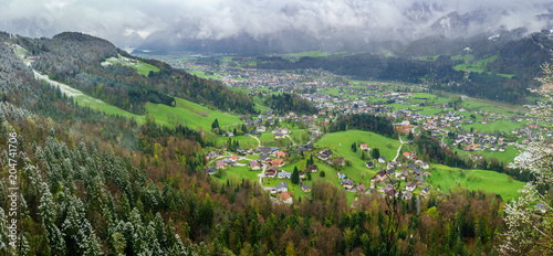 Poster View from Ewige Wand in Goisern, Austria - Hiking Alpine Landscape