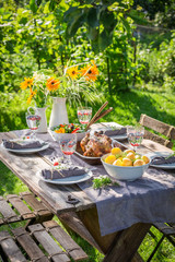 Dinner with chicken and vegetables in summer garden
