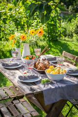 Dinner with chicken and vegetables in summer garden