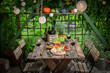 Preparation for dinner with wine and fruits in summer garden - 204746778