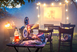 Small cinema in the summer garden in the evening - 204746984