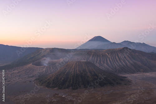Plexiglas Purper Mount Bromo volcano (Gunung Bromo) during colorful sunrise from viewpoint on Mount Penanjakan in Bromo Tengger Semeru National Park, East Java, Indonesia