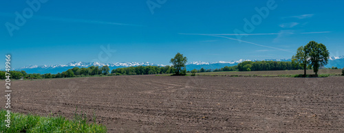 Fotobehang Blauwe jeans countryside landscape with Pyrenees mountain range in the background