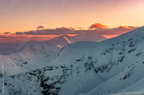Beautiful mountain sunset panorama, Tatra mountains Poland