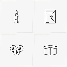 Business Line Icon Set  Coins Rocket And File Folder Sticker