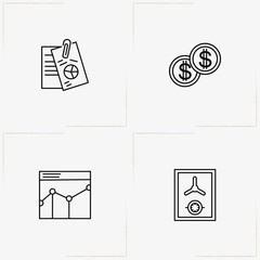 Banking line icon set with safe, graphics and coins