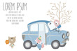 cute pastel greeting card with car,bear,fox,lion and tree