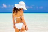 Back of young woman in bikini standing on the beach - 204773300