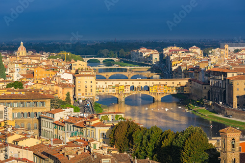 Fotobehang Florence Aerial view of Florence and Arno river, Italy