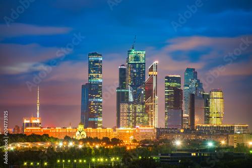 Plexiglas Moskou View on Moscow City at night