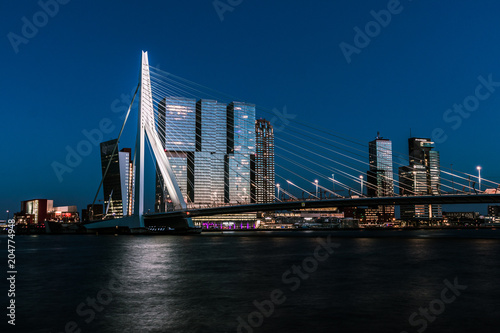 Aluminium Rotterdam Erasmusbrug at night