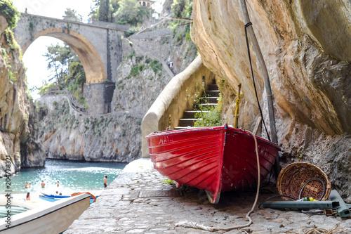 Fiordo Di Furore Beach Fjord Amalfi Coast Positano Naples Italy Fishermen Colored