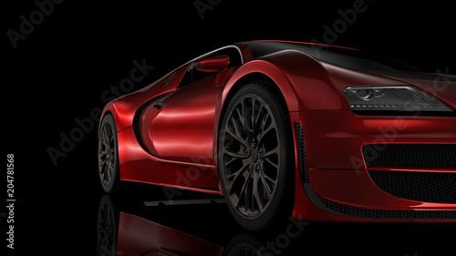 Super sport car in perspective - black background