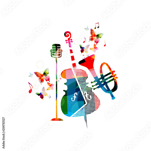 Music colorful background with violoncello, trumpet and microphone vector illustration design. Music festival poster, creative music instruments with music notes isolated