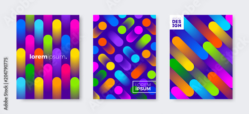 Set of cover design with abstract multicolored gradient shapes. Vector illustration template. Universal abstract design for covers, flyers, banners, greeting card, booklet and brochure.
