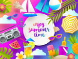 Flat design vector illustration. Summer holidays and beach vacation things and items on a bright gradient background. - 204790924