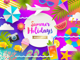 Flat design vector illustration. Summer holidays and beach vacation things and items on a bright gradient background. - 204790975