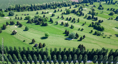 Aluminium Olijf Drone view of a golf course