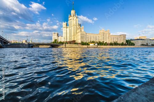 Plexiglas Moskou Kotelnicheskaya Stalin`s Skyscraper , Moscow river in Moscow, Russia