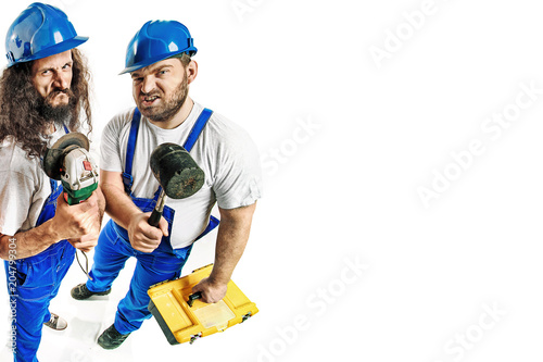 Plexiglas Konrad B. Craftsmen holding tools