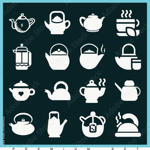 Fototapeta Set of 16 tea filled icons