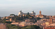View of Rome roofs: Altar of the Fatherland monument to Vittorio Emanuele, Trajan tower