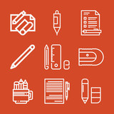 Outline set of 9 pencil icons - 204808996