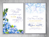 Set of templates for greetings or invitations to the wedding.  Illustration by markers, beautiful composition of hydrangea and leaves. Imitation of watercolor drawing. - 204811343