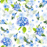 Seamless pattern, blooming blue hydrangea and green foliage. Illustration by markers, beautiful floral composition on a white background. Imitation of watercolor drawing. - 204811524