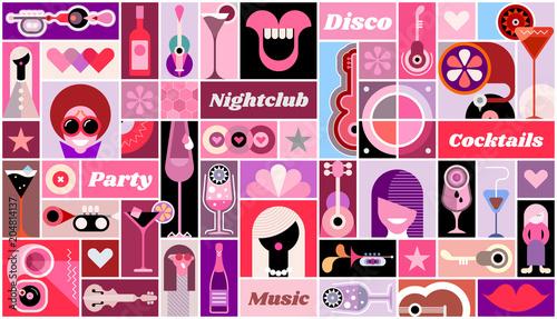 Fotobehang Abstractie Art Disco Party vector illustration
