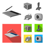 Power unit, dzhostik and other equipment. Personal computer set collection icons in monochrome,flat style vector symbol stock illustration web. - 204818935