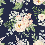 Blush cream bouquets on the navy background. Vector seamless pattern with garden flowers. Peony, lilac, fern and green leaves. Romantic illustration.