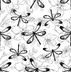 Seamless model with dragonflies and flowers