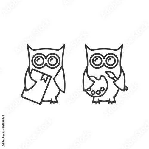 Aluminium Uilen cartoon line owl with book and palette icons on white background