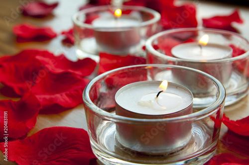 Foto Murales Candles and rose petals - romantic concept