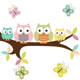 Four owls on a branch with butterflies - 204832905