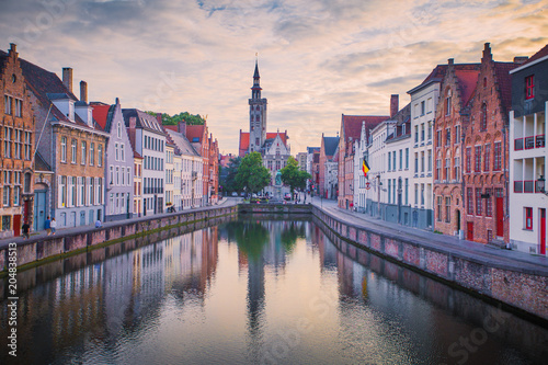 Fotobehang Brugge Brugge cityscape in the evening