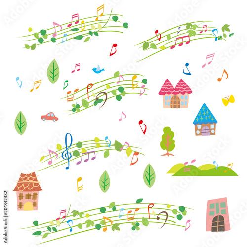 Fotobehang Muziek 音符 パターン 白
