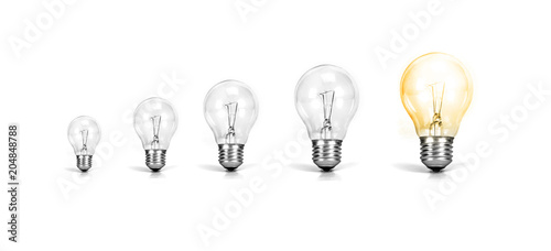 Foto Murales the Light bulb with one growth of glowing bulb on white background ,  growth success of business creative idea concept